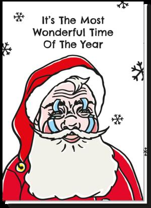 Stuur een lieve kerstgroet met deze kerstkaart van een kerstman met plakkers bij zijn ogen en mond, zodat hij blijft lachen