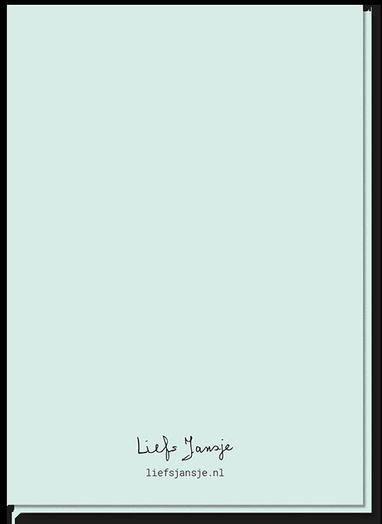 Achterkant van de wenskaart klein berichtje, gewoon effen groen