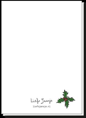 Achterkant kerstkaart patat met een kersttakje erop bij het logo van Liefs Jansje, verder blanco