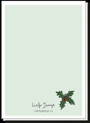 Achterkant kerstkaart mee-eters met op een kerstblaadje na een blanco achterkant
