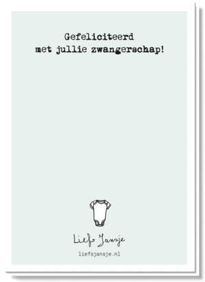 Achterkant kaart papa to be met de tekst 'Gefeliciteerd met jullie zwangerschap!'
