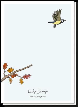 Achterkant rouwkaart met een koolmees die weg vliegt