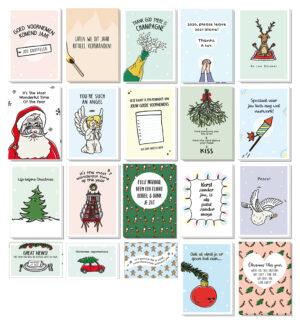 Kerstmis en Nieuwjaar wensen setje van 20 kerstkaarten met boordevol humor