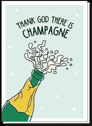 Nieuwjaarskaart champagne