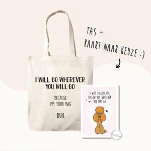 Valentijn pakketje met daarin een katoenen tas met tekst en een kaart naar keuze