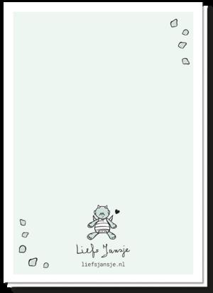 Achterkant geboortekaartje draakje blanco