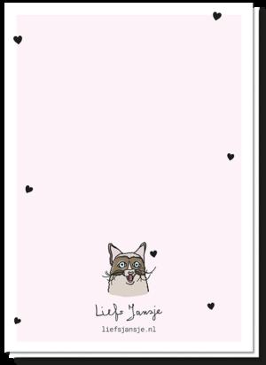 Achterkant kattenkaart met wat hartjes en een kleine kopie van de kat op de voorkant
