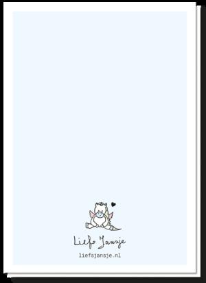 Achterkant geboortekaartje eenhoorn blanco