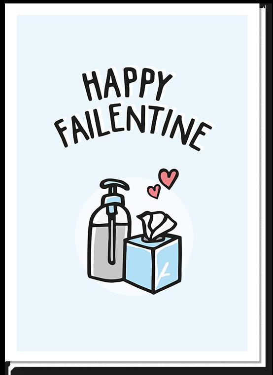 Voorkant Valentijnskaart Man met daarop de tekst 'Happy Failentine' met een pompje glijmiddel en tissues