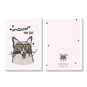 Valentijnskaart met kat die zegt ik mauw van jou