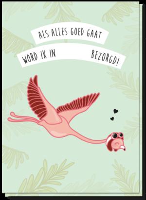 Zwangerschap aankondiging kaart Flamingo