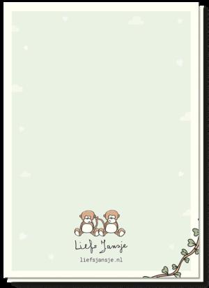Gefeliciteerd Tweeling Aapjes achterkant wenskaart