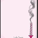 Achterkant verjaardagskaart met uitgeblazen roze kaarsje
