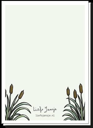 Achterkant condoleancekaart met wat riet, de eend is weg gezwommen