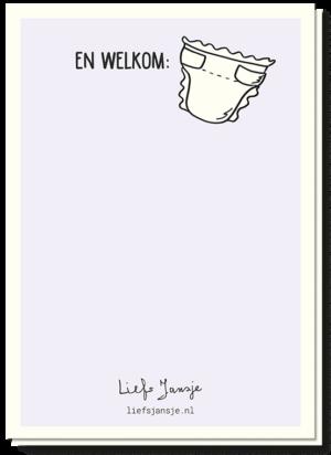 Zwangerschapskaart met een luier en de tekst 'Welkom..'