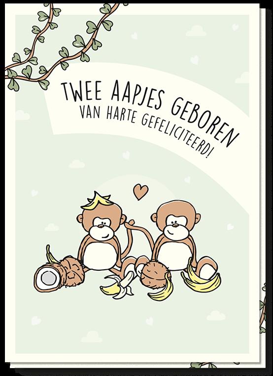 Gefeliciteerd Tweeling Aapjes kaart met daarop 2 aapjes en de tekst 'Twee aapjes geboren van harte gefeliciteerd'