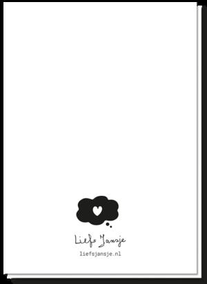 Achterkant tekst felicitatie geboorte wenskaart blanco