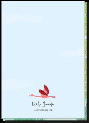Kinderkaart dieren achterkant blanco met een kleine flamingo boven het logo van Liefs Jansje