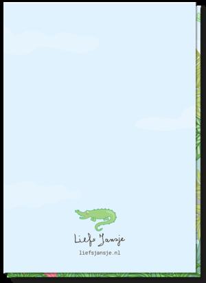 Achterkant kinderkaart verjaardag blanco met alleen een kleine krokodil boven het logo van Liefs Jansje