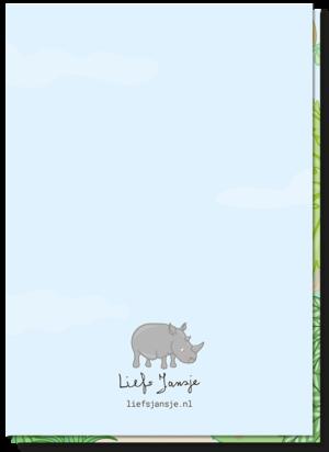 Achterkant verjaardagskaart kind met een kleine neushoorn boven het logo van Liefs Jansje