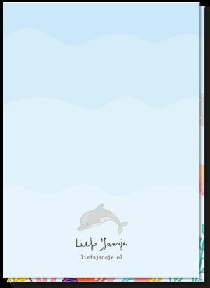 Kinder wenskaart achterkant blanco. Klein dolfijntje boven het Liefs Jansje logo