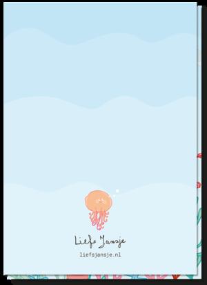 Wenskaart verjaardag kind achterkant blanco. Een kleine kwal boven het logo van Liefs Jansje