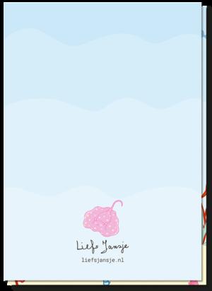 Leuke kinderkaarten achterkant blanco met een roze rog boven het logo Liefs Jansje