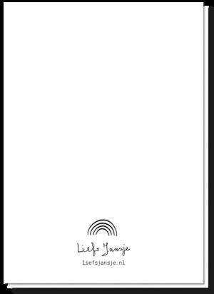 Achterkant geboortekaartje Zwart Wit