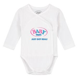 Baby overslag romper lange mouw met daarop het logo van baby born en daaronder de tekst 'Just got real!'