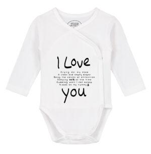 Baby rompertje tekst lange mouw met de tekst ' I love You' en daar tussenin waarom de baby van je houdt, zoals omdat jij mijn luier verschoont etc.