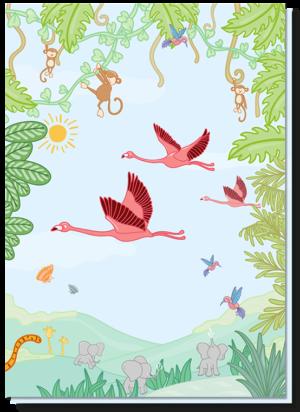 Kinderkaart dieren met daarop een vrolijke jungle met flamingo's, aapjes, olifantjes, giraffes etc.