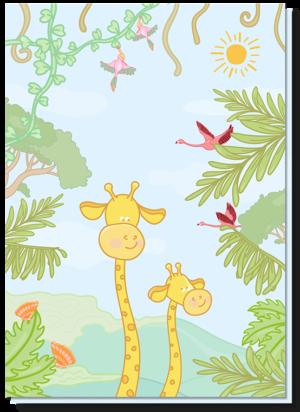 Vrolijke dierenkaart met daarop twee giraffen, flamingo's en tropische vogels.