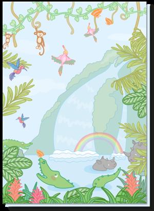 Kinderkaarten verjaardag met daarop een vrolijke jungle, met mooie kleuren. Spot de krokodil, neushoorns, aapjes en de tropische vogels