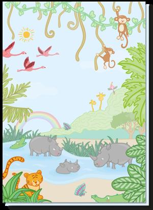 Verjaardagskaart kind met daarop heel veel jungledieren, zoals de tijger, neushoorn, flamingo, giraffes en aapjes. De vrolijke kleuren maken de kaart extra leuk!
