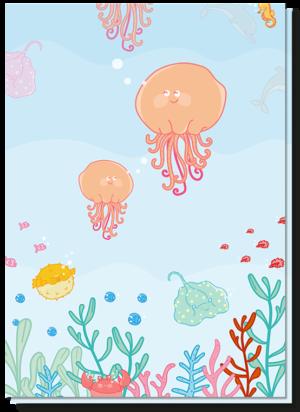 Wenskaart verjaardag kind met daarop vrolijke kwallen, een rog en nog veel meer zeediertjes