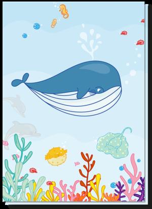 Kinderkaarten blanco met daarop een walvis, rog, dolfijnen