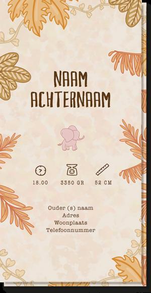 Achterkant geboortekaartje olifantje waar de naam op kan worden ingevuld, net als de geboortetijd, gewicht etc