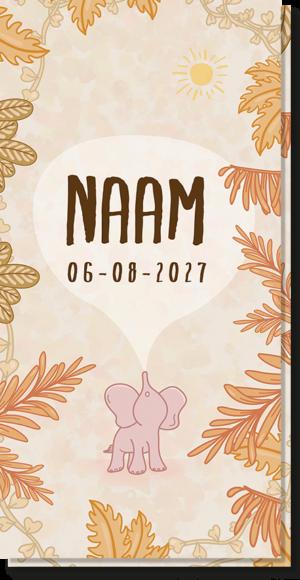 voorkant geboortekaartje olifantje waar de naam op kan worden ingevuld, net als de geboortetijd, gewicht etc