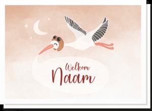 Geboortekaartje ooievaar met daarop een vliegende ooievaar met een tekstwolkje waar de naam van het kindje in kan. Mooie zachte kleuren