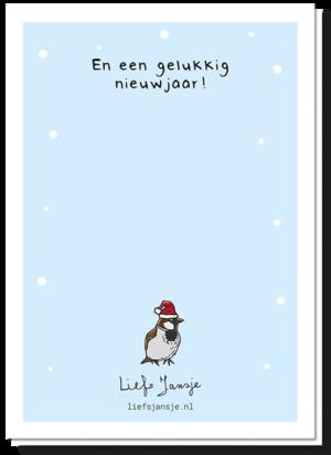 """Achterkant kerstkaart fijne kerstmus met achterop de tekst """"En een gelukkig nieuwjaar!"""""""