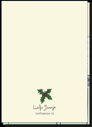 Achterkant kerstkaart vaat, de achterkant is blanco